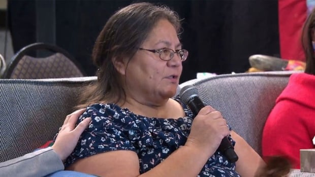 Barbara Bernard fought back tears as she shared her mother's story at the national inquiry into missing and murdered Indigenous women and girls hearing in Moncton, N.B., on Wednesday.