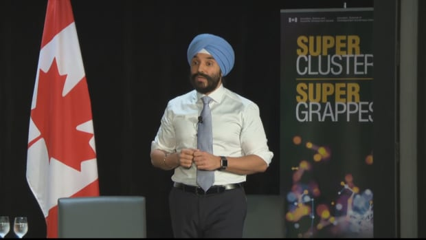 Economic Development Minister Navdeep Bains announced the winners Thursday of a competition to form technology 'superclusters', a prize that will guarantee the chosen groups a piece of up to $950 million in federal funding.