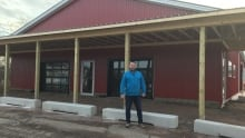 David McGuire in front of new Bogside Brewing building in Montague, P.E.I.