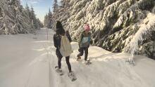 Julia snowshoeing