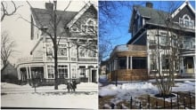 Hillhurst on Fitzroy St. in Charlottetown 100 years ago and now with rebuilt verandah