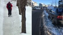 Snow sidewalk street Calgary collage