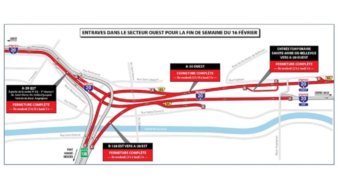 This weekend's highway closures span from downtown Montreal to