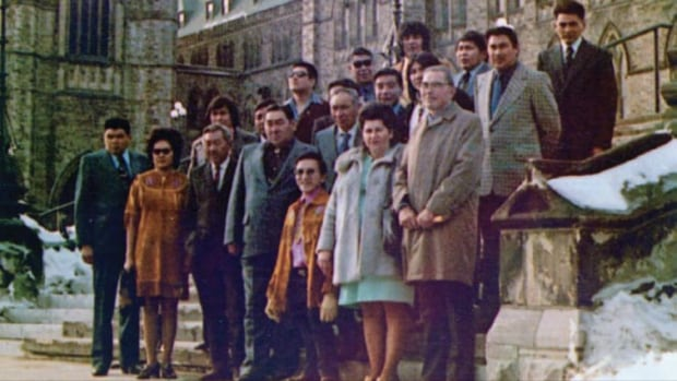 Yukon Indigenous leaders went to Ottawa in February 1973, to convince the federal government to begin land claim negotiations. The delegation was led by Chief Elijah Smith, seen here standing in front, wearing a trench coat.