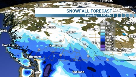 Snowfall, freezing temperatures in store for B.C. this weekend