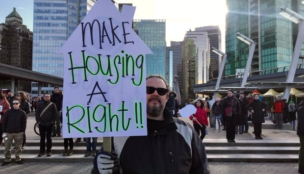 Vancouver Housing Rally 18 Feb 2018 Jack Poole Plaza