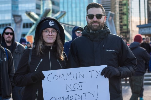 Paolo Succi and Meghan Kennedy Vancouver Housing Rally 18 Feb 2018