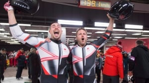 Canada's Kripps, Kopacz tie Germany for 2-man bobsleigh gold