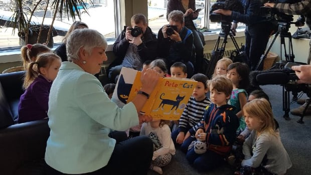 "B.C. finance minister Carole James read ""Pete the Cat"" to Victoria children on Monday morning."