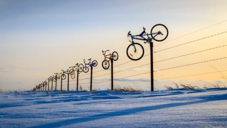 Saskatchewan family adorns farm fence with nearly 100 colourful bicycles