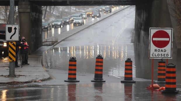 Flooding on the street has prompted the city to close the road at Bayview Avenue between Nesbitt Drive and Moore Avenue.