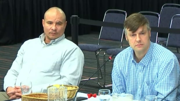 The Open Door's outreach worker John Tessier (left) and director David Chapman told the Viens commission that 'the system is broken' when it comes to supporting Indigenous people.