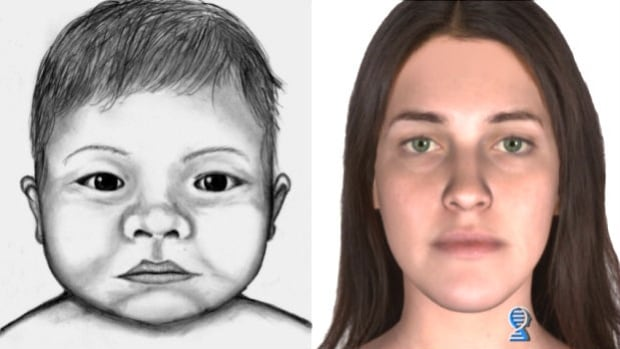 The sketch of the woman was created through a process called DNA phenotyping, shows a possible likeness, at about age 25, of the mother of a baby found abandoned in a northwest Calgary dumpster on Christmas Eve.