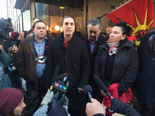 First Nations chiefs outside courthouse