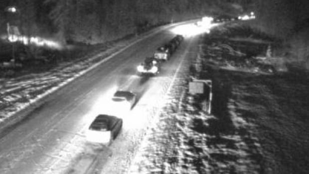 Traffic backs up near the Culliton Creek Bridge north of Squamish after an accident  closed the Sea to Sky highway between Squamish and Whistler late Friday night.