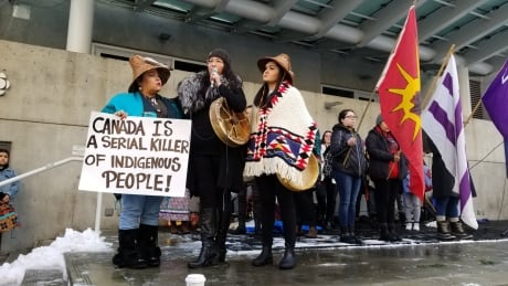 'Stop hunting us, stop killing us': hundreds at Vancouver rally demand justice in Tina Fontaine trial