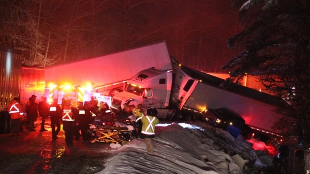 Twenty-nine people were taken to hospital after a crash involving two buses, two transport trucks and two passenger vehicles on B.C.'s Coquihalla Highway on Sunday evening.