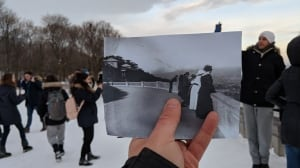 Mount Royal lookout, now and in 1916