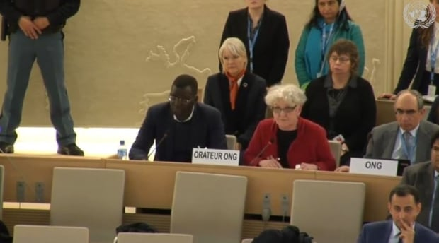 Jeanne Sarson reading statement at UN