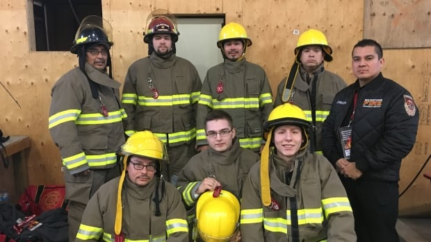 Week 1, Thunder Bay, Ontario. Back row, from left to right: Todd Cornelius of Oneida Nation, Kirk French of Chippewa of Thames, Matthew Henry-Riley of Chippewa of the Thames, Wesley George of Oneida Nation, Adrian Chrisjohn of Oneida & Six Nations Fire & Emergency Services Instructor.  Front row kneeling, left to right: Colton Hendrick of Chippewa of the Thames, Keith George of Oneida Nation, Tyler VanEvery of Six Nations representing Oneida Nation