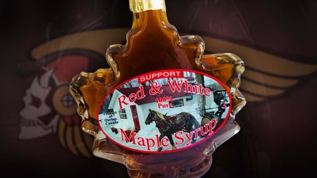 The 'Support Red & White' syrup is produced at an Outaouais farm run by an influential Hells Angels member.