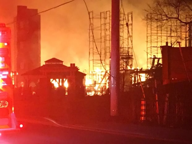 Emergency services evacuating area in Streetsville after massive fire breaks out