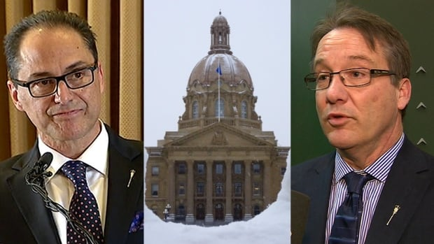 Finance Minister Joe Ceci, left, and finance critic Drew Barnes, right, have offered different takes on Alberta's budget situation.