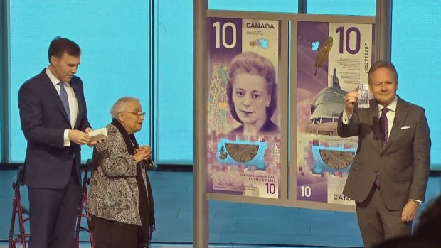 Wanda Robson, the sister of Viola Desmond, smiles as the new $10 featuring her sister Viola Desmond is unveiled.