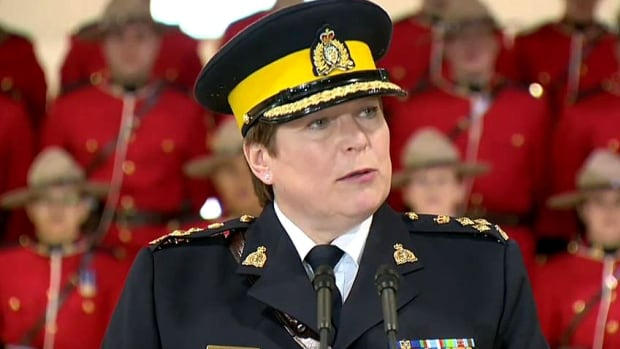Brenda Lucki speaks in Regina after being named the 24th commissioner of the RCMP. Lucki begins her new role in April.