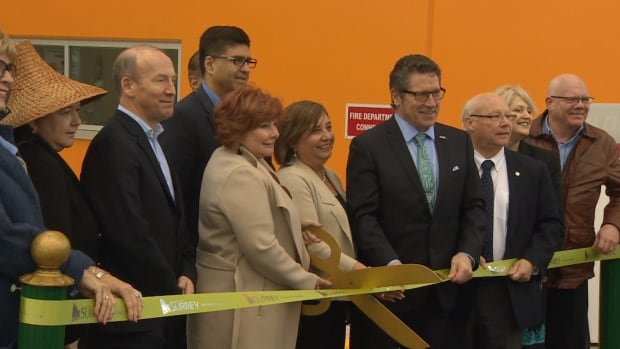 Surrey Mayor Linda Hepner cuts the ribbon at the grand unveiling of Surrey's new biofuel facility.