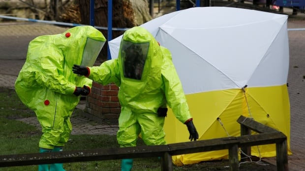 A forensic tent last week covered the bench where Sergei Skripal and his daughter Yulia were found. The investigation into their poisoning is ongoing, but Britain's prime minister offered new details on Monday.