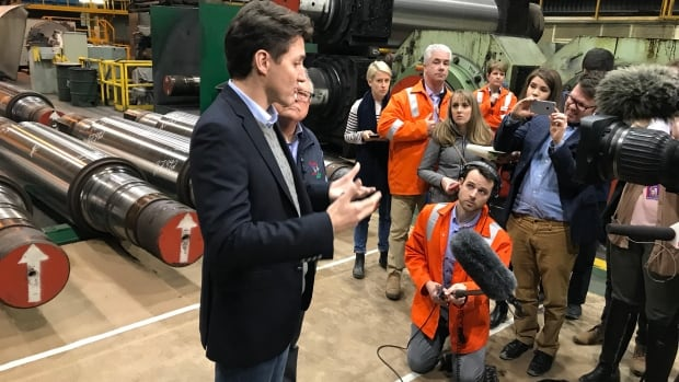 Prime Minister Justin Trudeau talks to reporters about NAFTA negotiations, the status of the Trans Mountain pipeline and more, during a visit of Evraz Regina on March 14, 2018.
