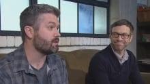 Geoff Kennedy and Rob Edwards chat in a Halifax coffee shop Thursday.