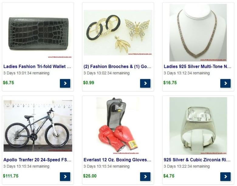 02c3ab20c3b8 A sampling of the goods on offer through Police Auctions Canada. (Police  Auctions Canada)