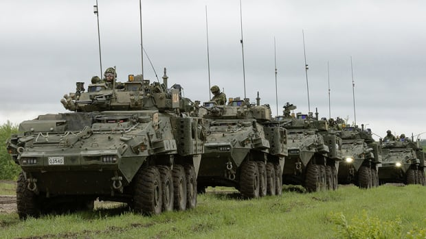 In this promotional image, taken by the Canadian Forces and hosted on the General Dynamics website, General Dynamics Land Systems Canada Lav 6 vehicles like the ones being sold to Saudi Arabia are shown carrying troops.