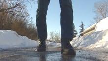Icy sidewalk sidewalks Calgary
