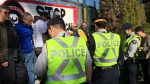 Protesters arrested at Trans Mountain pipeline protest in Burnaby, B.C.