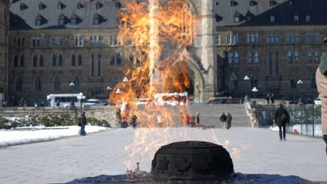 Centennial Flame Parliament Hill Centre Block Winter