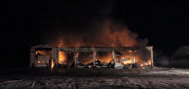 Osler area dairy farm fire