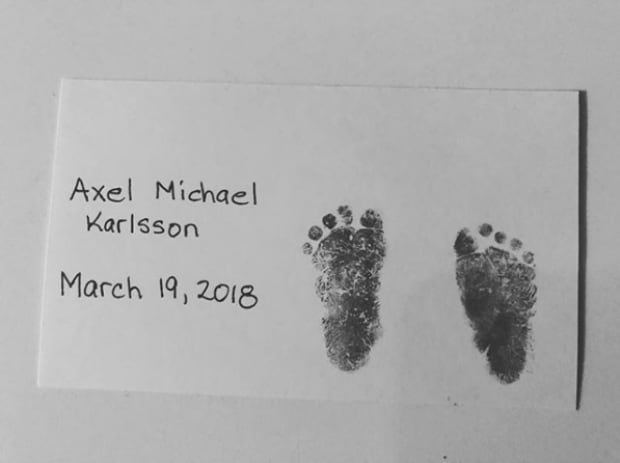 Ottawa Senators captain Erik Karlsson son Axel footprints stillbirth