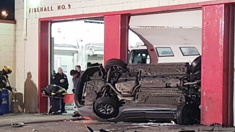 Car crashes and rolls into Winnipeg firehall thumbnail