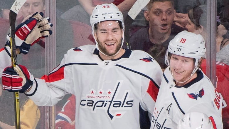 Tom Wilson celebrates with teammate Nicklas Backstrom after scoring during  the first period of the Washington Capitals  6-4 win over the Montreal  Canadiens ... 6e278ad2097