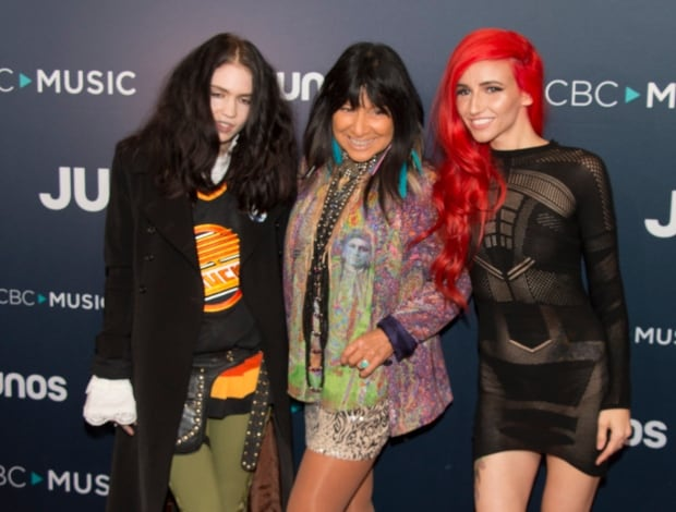 Grimes, Buffy Sainte-Marie and Lights arrive at the 2018 Juno Awards in Vancouver.