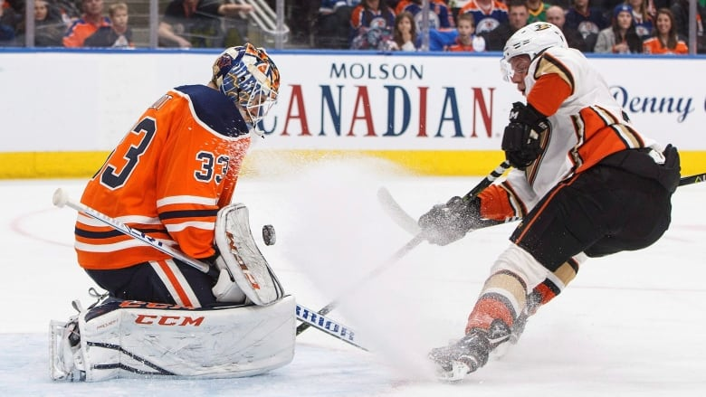 8aa1e2675 Anaheim s Ondrej Kase is stopped by Edmonton s Cam Talbot during the first  period of the Ducks  5-4 overtime victory against the Oilers on Sunday.