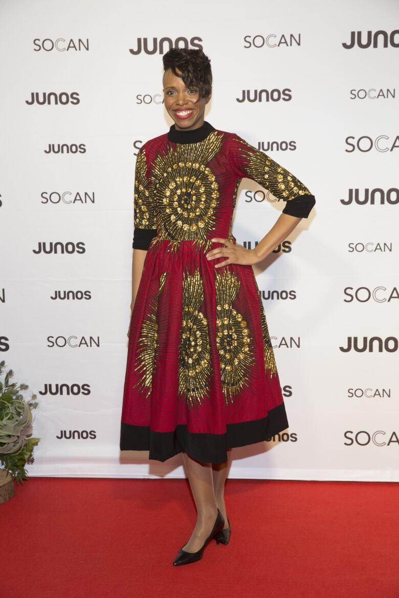 277f81c3742 Kellylee Evans arrives on the Juno Awards red carpet on March 24, 2018.  (CARAS/iPhoto)