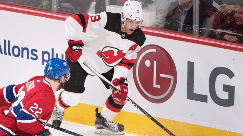9176aaf8a Taylor Hall scored the game-winning goal in the New Jersey Devils' 2-1 win  over the Montreal Canadiens on Sunday. (Graham Hughes / The Canadian Press)