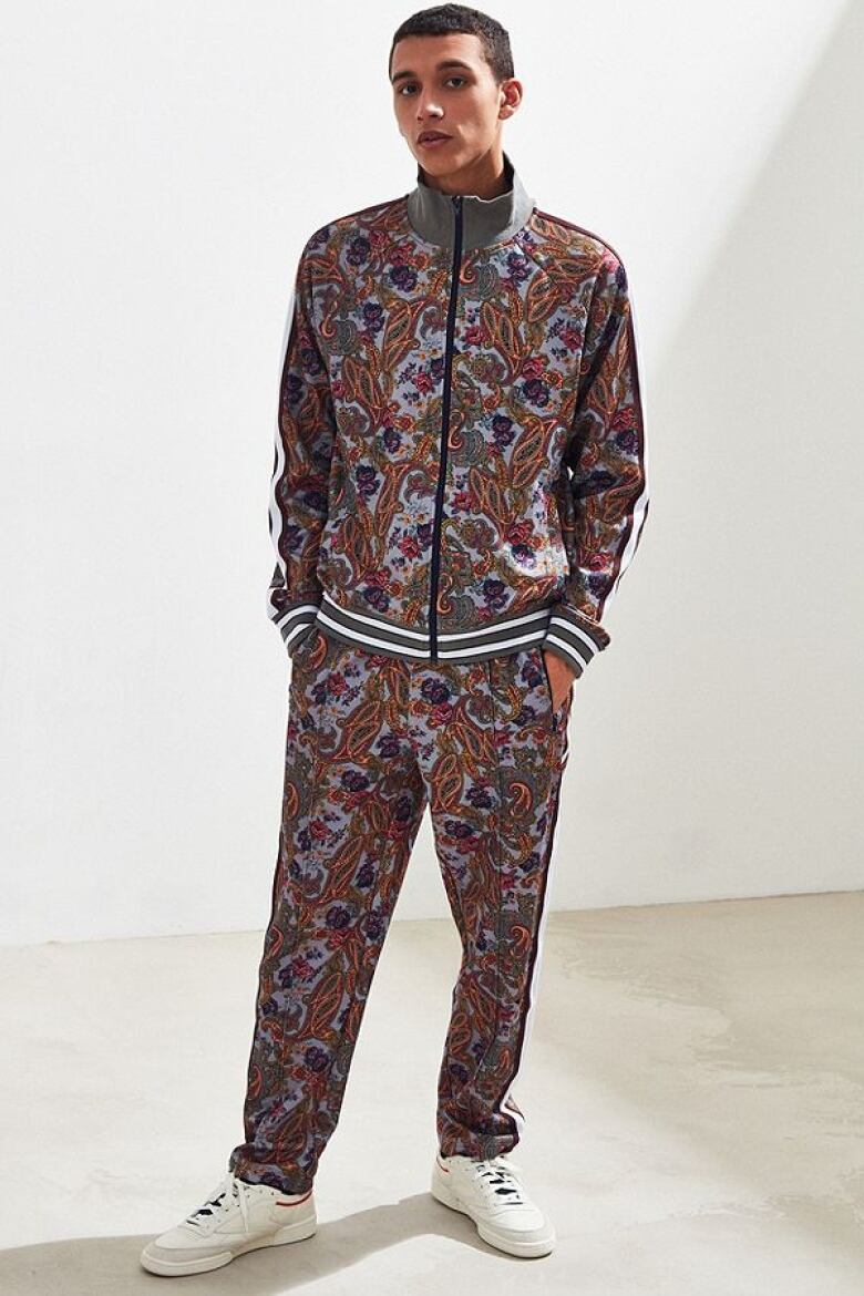 official photos a90ac 87d7c  Urban Outfitters  track suit comes in solid colours, but we suggest  pushing the envelope with a paisley print. The racing stripe details and  ribbed cuffs ...