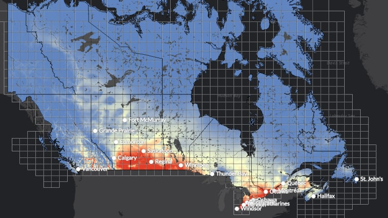 New map lets canadians see just how hot hometowns could get this the climate atlas of canada allows users to zoom in on their hometowns and see just how hot it is likely to get this century the red zones are areas most gumiabroncs Gallery