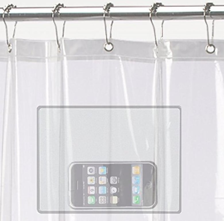 If You Need Your Actual Phone On At All Times This Shower Curtain Will Stop Bathroom FOMO It Is Specifically Designed To Hold Smartphone Or