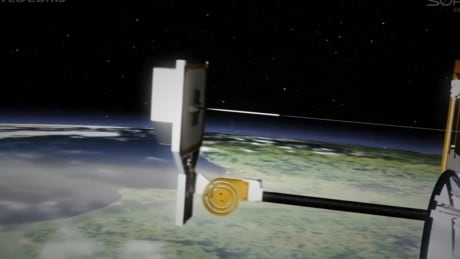 Space debris harpoon